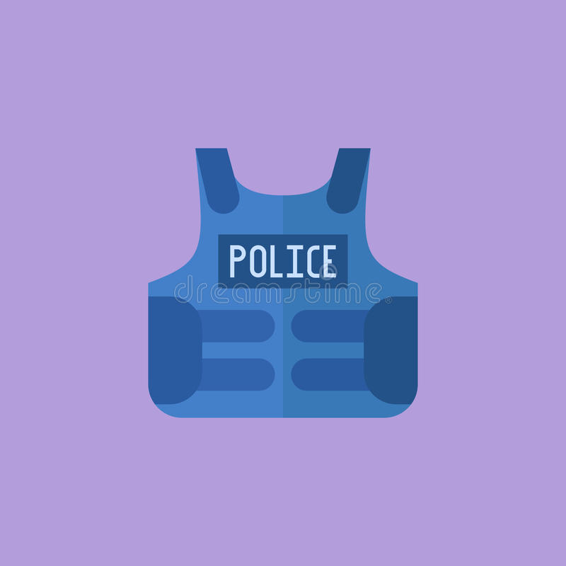 Police bulletproof vest flat style icon stock illustration