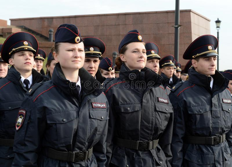 Police cadets of the Moscow Law University of the Ministry of Internal Affairs of Russia at the ceremonial post. stock photo