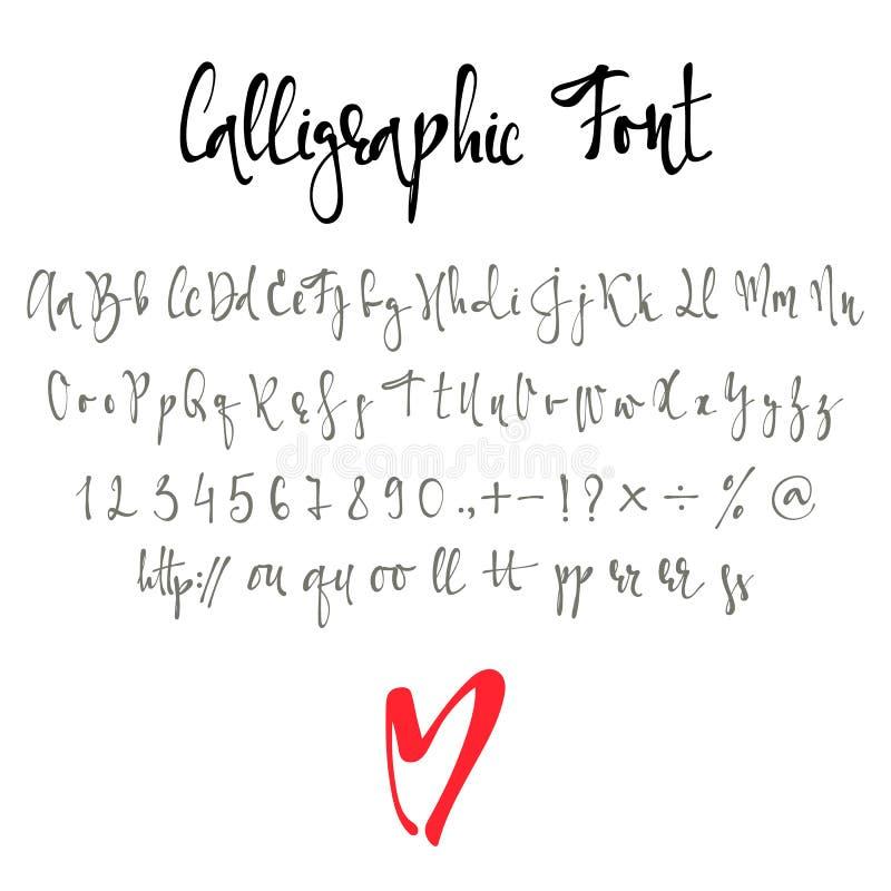 Police calligraphique avec des nombres, l'esperluète et des symboles illustration de vecteur