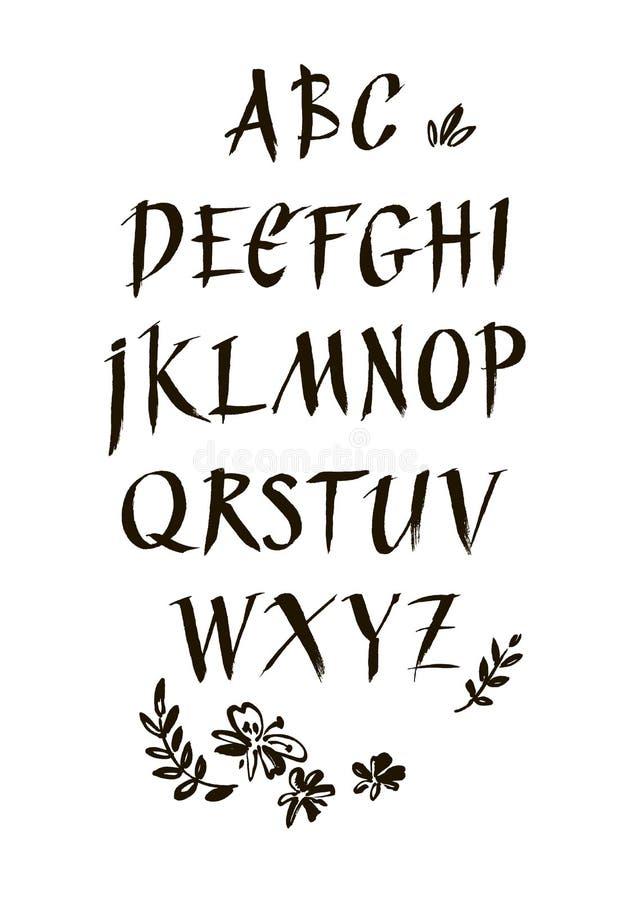 Police calligraphique d'encre manuscrite Lettrage moderne de brosse Alphabet tiré par la main Fleurs peintes à la main abstraites illustration stock