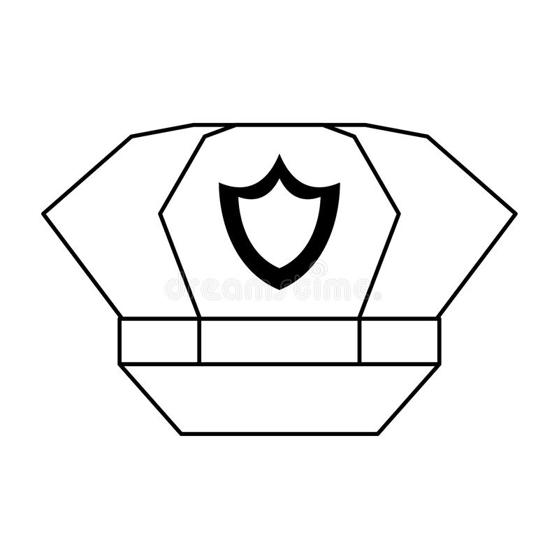 Police cap with badge symbol isolated in black and white stock photography