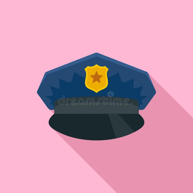 Police cap icon, flat style stock illustration