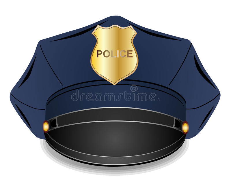 Police cap. Police peaked cap with cockade illustration isolated on white background vector illustration