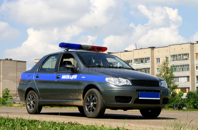 Police car. A grey and blue police car stock photo