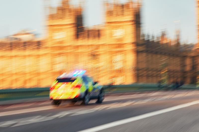 Police car in actio royalty free stock images