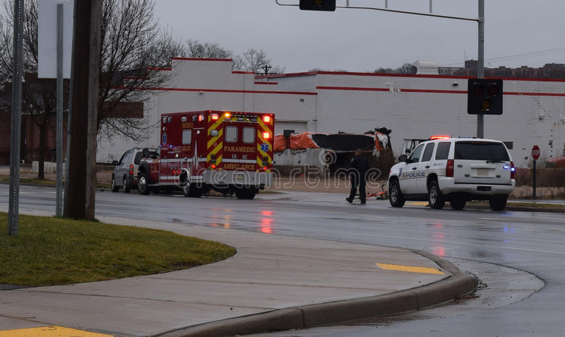 Police Car And Ambulance At Scene Of Bike Accident Officer Investigating royalty free stock images