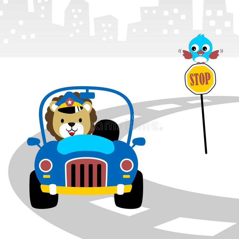 Police car cartoon with funny driver stock illustration