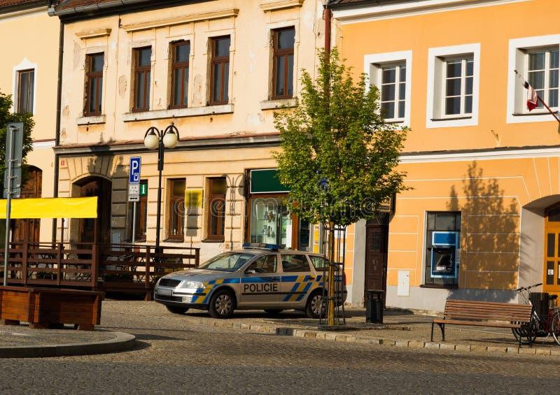 Police car in center of Bechyne city, South Bohemia. stock photos