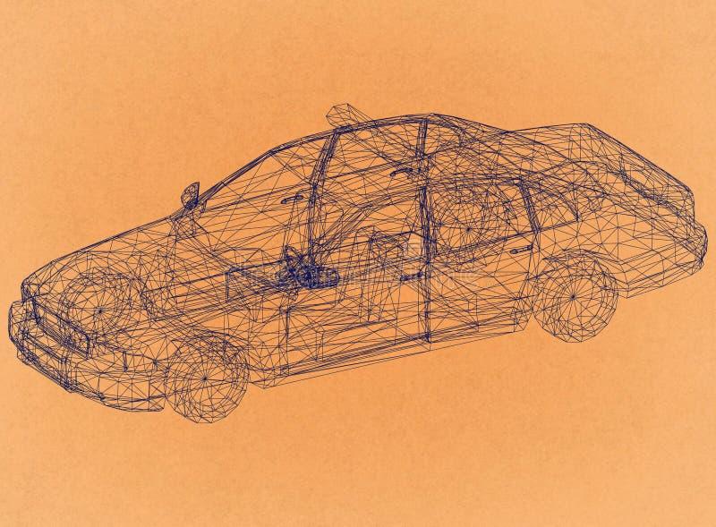 Police Car Concept - Retro Architect Blueprint stock illustration