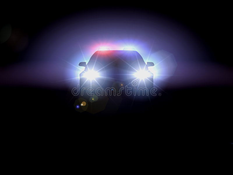 Police car in darkness stock images