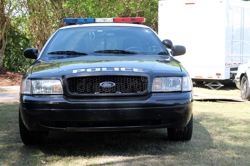 Police car front. Local police patrol car at 2014 Boca Raton Concours royalty free stock photo