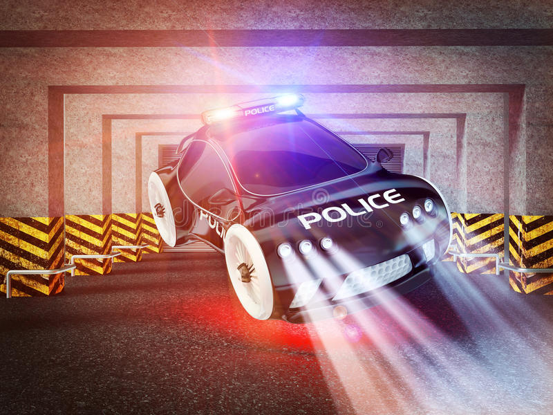 Police car of the future. Black police car with included flashing lights vector illustration