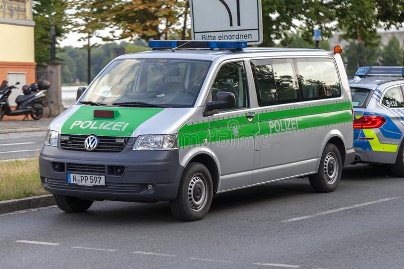 Police car from german police stands on a street royalty free stock image