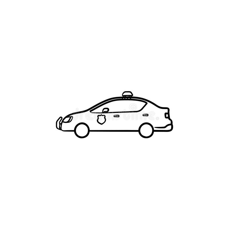 Police car hand drawn outline doodle icon. Police patrol car hand drawn outline doodle icon. Police authority, power and criminal concept. Vector sketch royalty free illustration