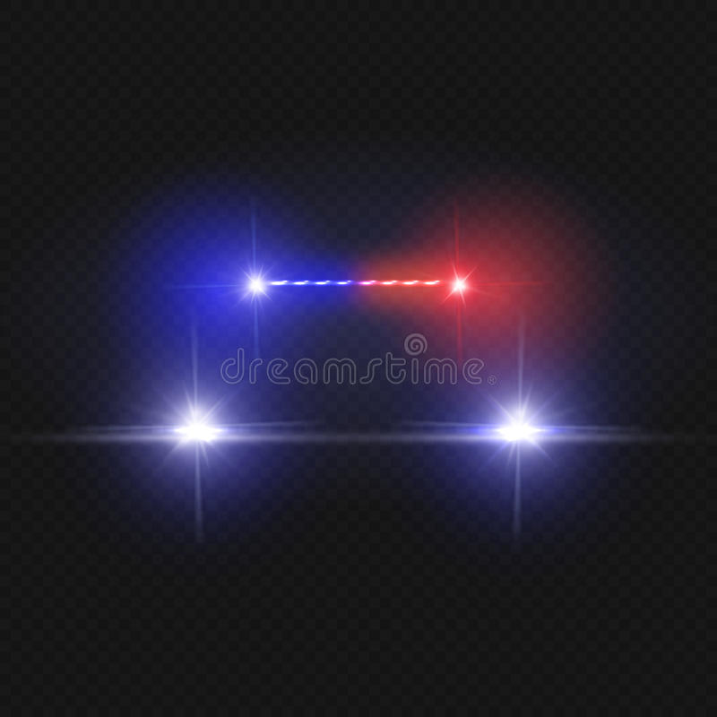 Police car headlights and blinking red siren lights isolated on transparent background. Police car with light red siren, illustration of driving police vector illustration
