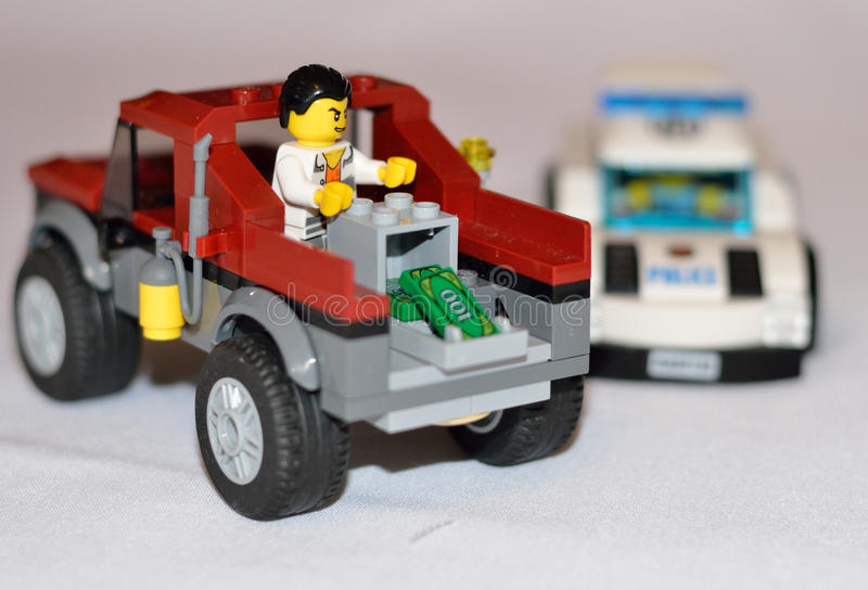 Police car. Lego police cars and car thieves stock image