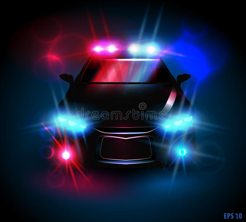 Police car. Light from a police car on a black background, eps10 royalty free illustration