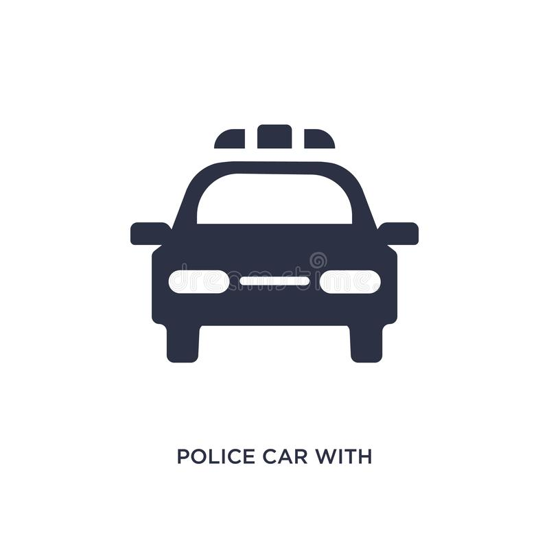 police car with lights icon on white background. Simple element illustration from mechanicons concept stock illustration