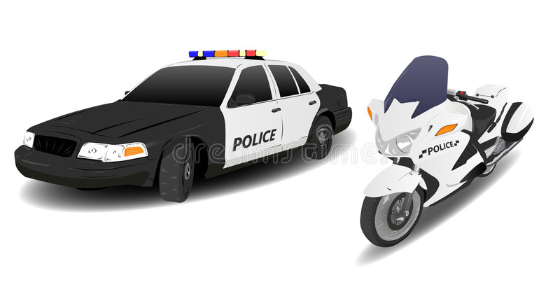 Police Car and Motorbike. Police Car and Motor Bike on White stock illustration
