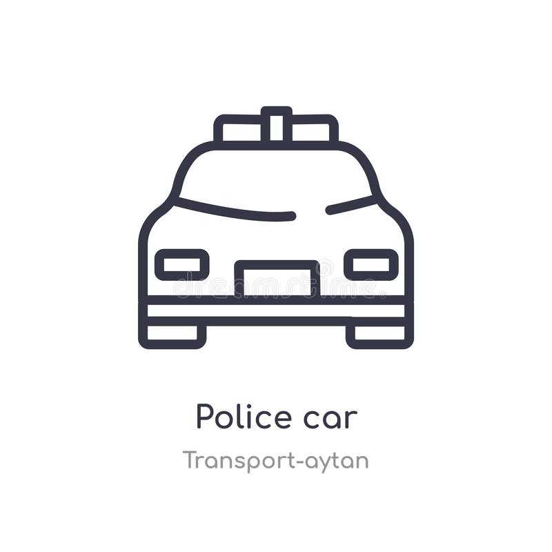 police car outline icon. isolated line vector illustration from transport-aytan collection. editable thin stroke police car icon royalty free illustration