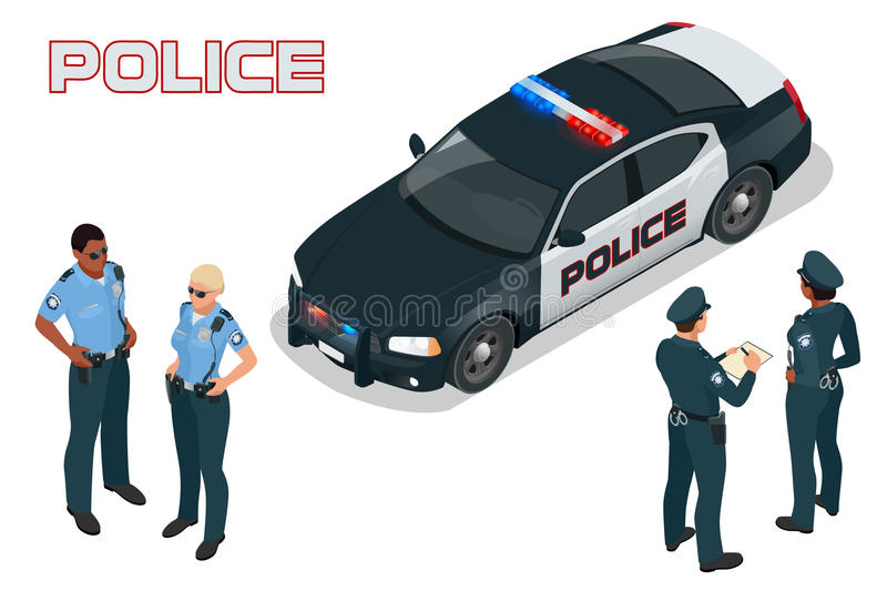 Police car - policeman - policewoman. Flat 3d isometric high quality city service transport. Isometric police car. stock illustration