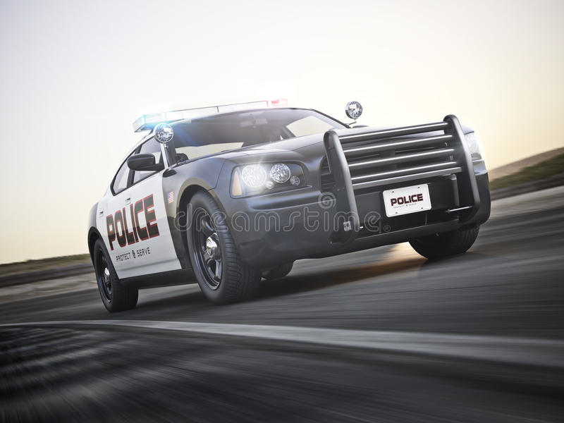 Police car running with lights and sirens on a street with motion blur. Photo realistic 3d model scene vector illustration