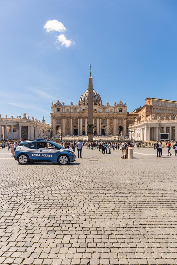 VATICAN CITY - APRIL 27, 2019: Police car at Saint Peter`s Square, Piazza di San Pietro, for the safety of the people. royalty free stock photo
