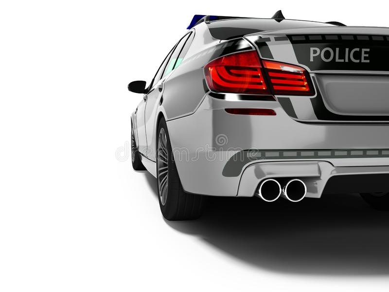 Police car sedan gray with green inserts rear view 3d render on white background with shadow vector illustration