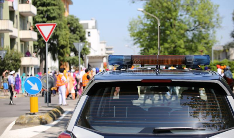 Police car with sirens. During a parade in the city stock photos