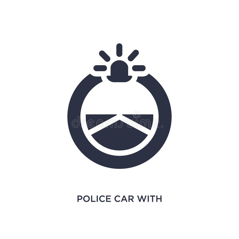 police car with steering wheel icon on white background. Simple element illustration from mechanicons concept vector illustration