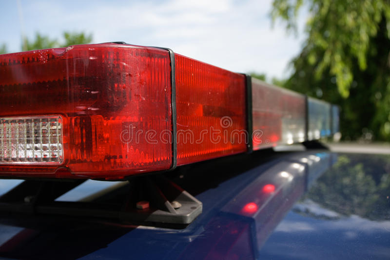 Police Car Strobe Lights. Close-up of police strobe lights on top police cruiser. Horizontal format stock images
