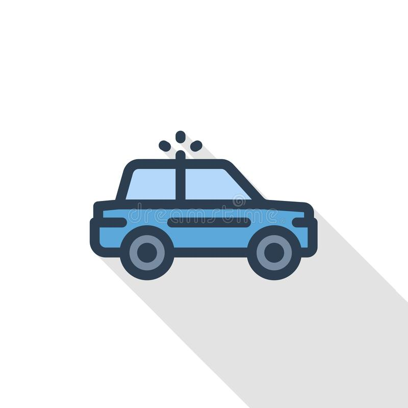 Police car thin line flat color icon. Linear vector symbol. Colorful long shadow design. stock illustration