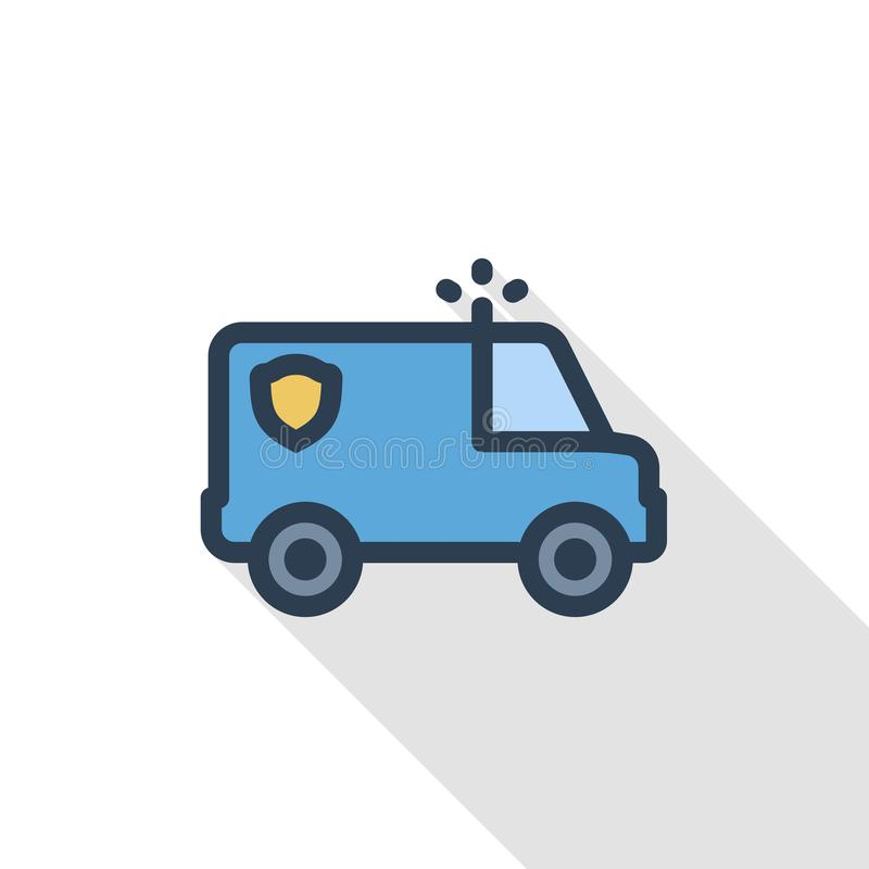 Police car thin line flat color icon. Linear vector symbol. Colorful long shadow design. royalty free illustration