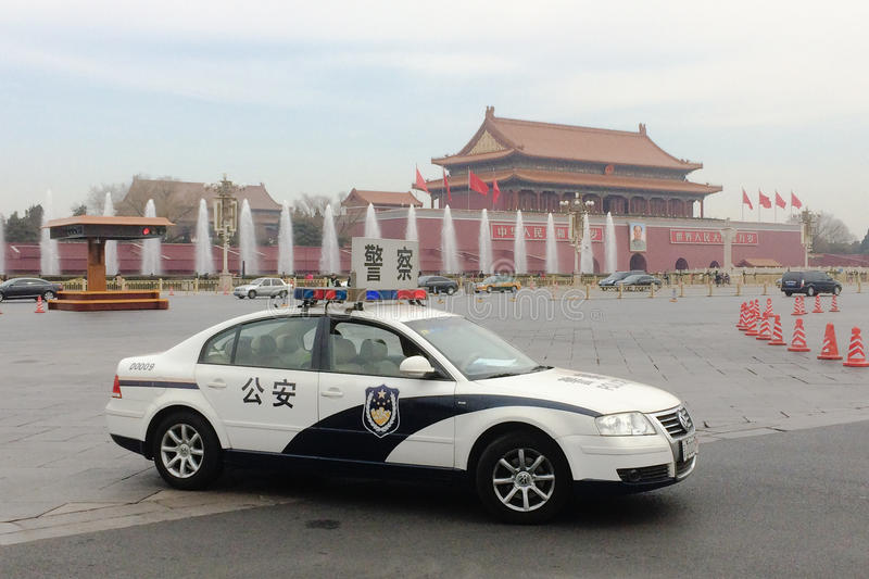 A police car in the Tiananmen Square in Beijing royalty free stock photos