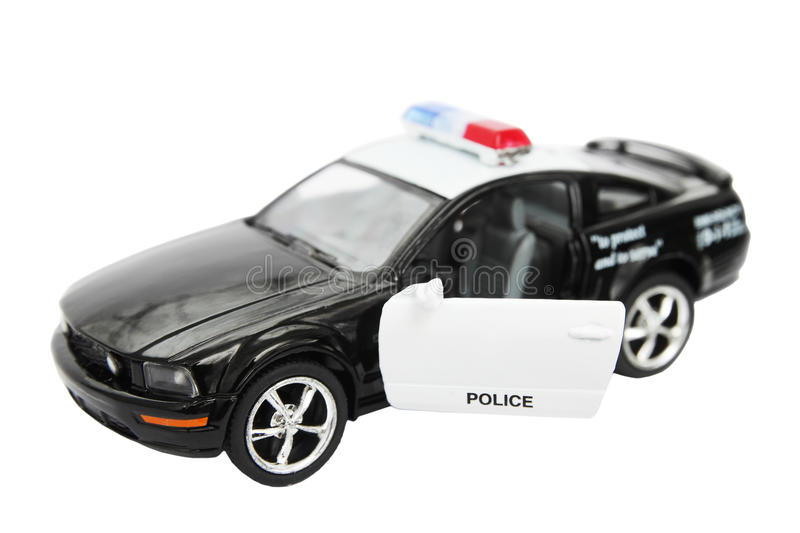 Police car. Toy isolated on white background stock images