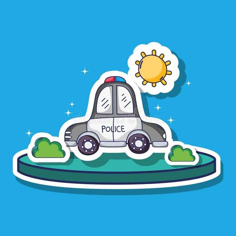 Police car transportation with sun and bushes patches royalty free illustration
