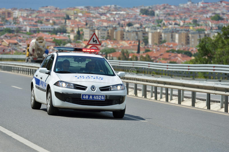 Police car on the Turkish road stock image