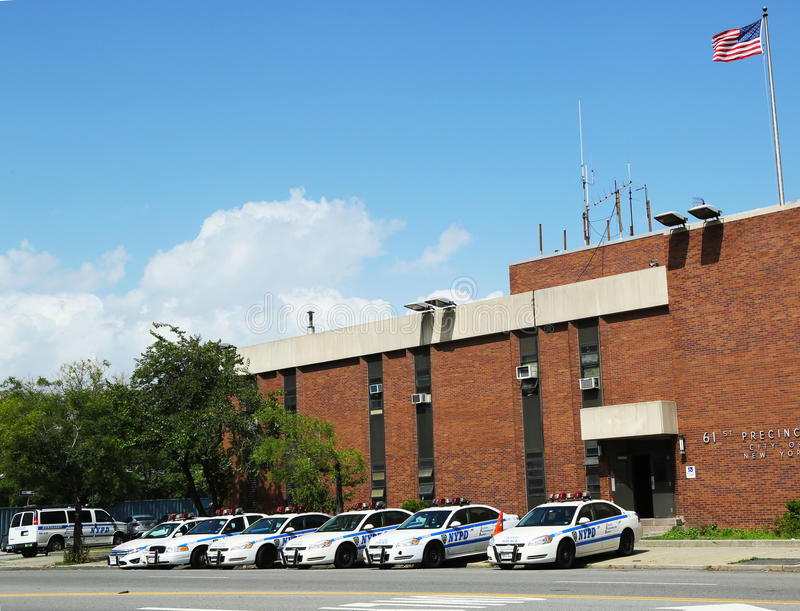 Police Cars In The Front Of NYPD 61st Precinct In Brooklyn , NY Editorial Stock Photo