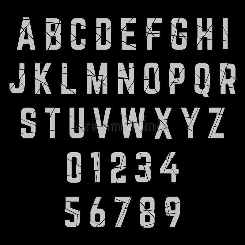 Police cassée par alphabet illustration de vecteur