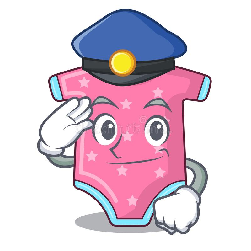 Police character baby clothes hanging on clothesline. Vector illustration stock illustration