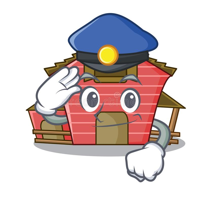 Police character red barn building with haystack. Vector illustration vector illustration