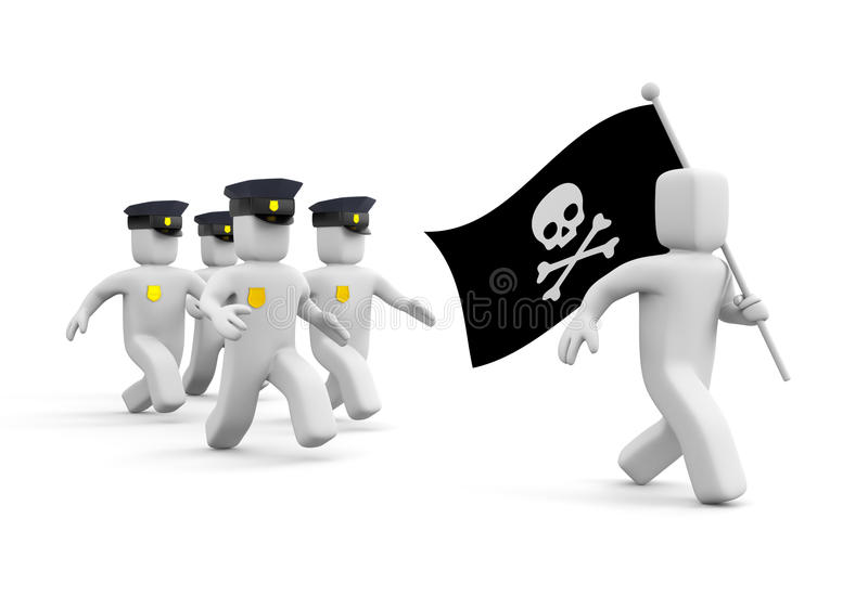 Police chase for piracy. Internet metaphor. Separated on white stock illustration