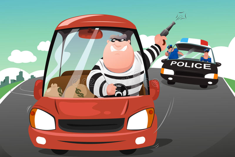 Police chasing criminals in a car on the highway royalty free illustration