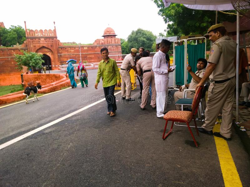Police checking. August 2017, Delhi, India - Pice officials checking for security reasons at Red Fort of Delhi stock photography