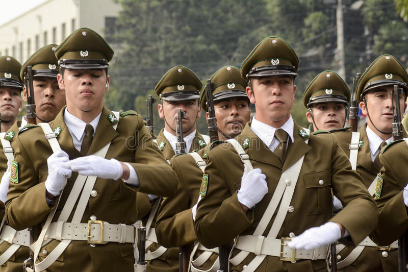 Police. Chillan, Chile. 27 April 2016. Young hopefuls Carabineros, parading during the anniversary celebration of the 89 years of the police institution stock photo