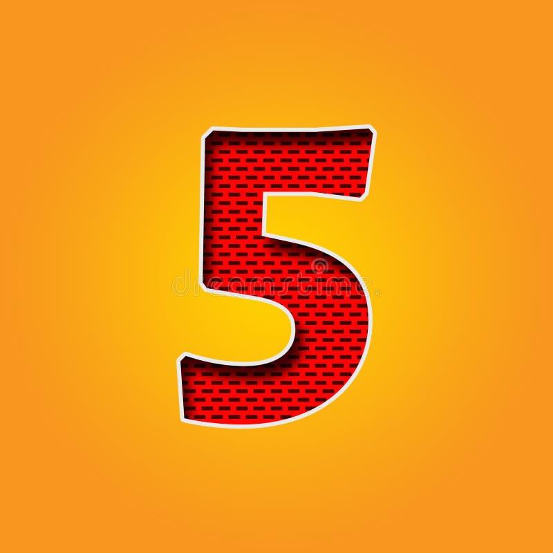 Police cinq simple du caractère 5 dans l'alphabet orange et jaune de couleur illustration stock