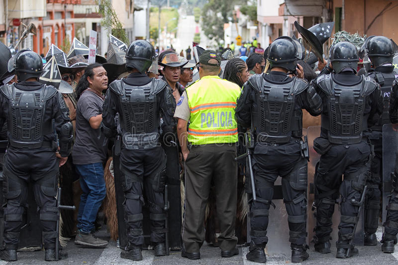 Police closing off access to street in Ecuador royalty free stock photo