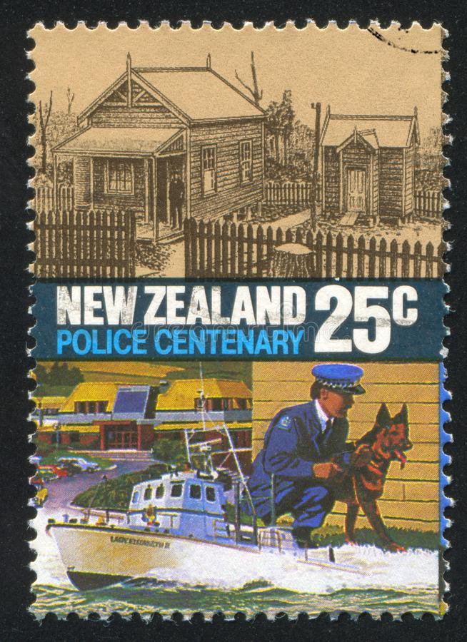 Police College. NEW ZEALAND - CIRCA 1986: stamp printed by New Zealand, shows Police Force Act, Centenary, Original Mt. Cook Training Center and modern Police royalty free stock photos