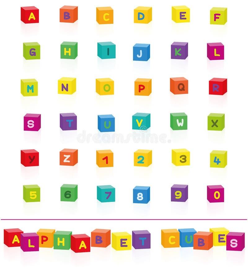 Police colorée de nombres de lettres d'alphabet de cubes illustration de vecteur