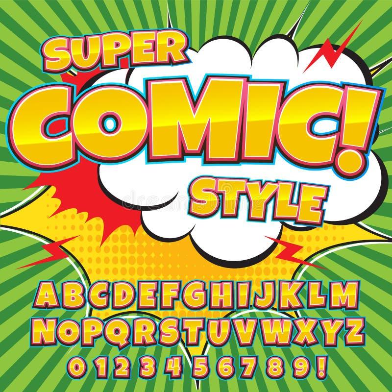 Police comique de détail élevé créatif Alphabet dans le style des bandes dessinées, art de bruit illustration libre de droits